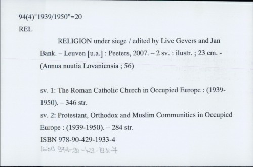 Religion under siege / edited by Lieve Gevers and Jan Bank.