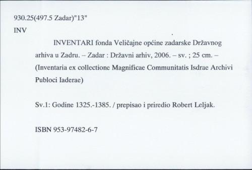 Inventari fonda Veličajne općine zadarske Državnog arhiva u Zadru /