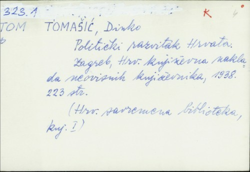 Politički razvitak Hrvata / Dinko Tomašić