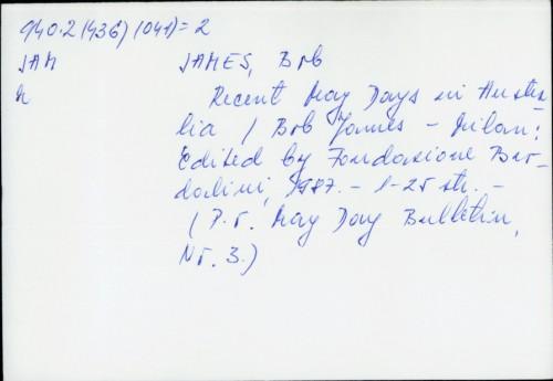 Recent May Days in Australia / Bob James