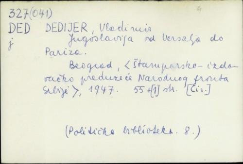 Jugoslavija od Versalja do Pariza / Vladimir Dedijer