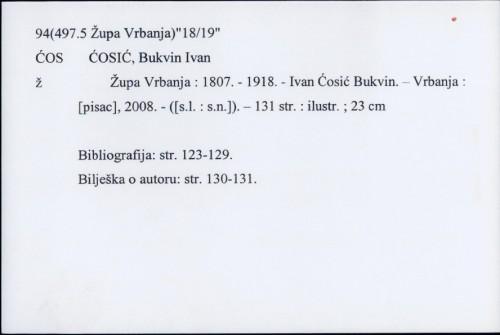 Župa Vrbanja : 1807.-1918 / Ivan Ćosić Bukvin