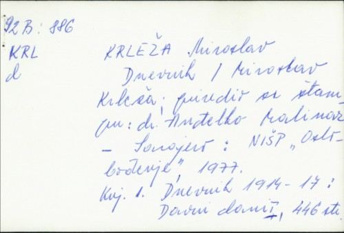 Dnevnik / Miroslav Krleža.