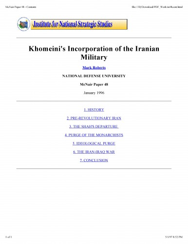 Khomeini's incorporation of the Iranian military / Roberts, Mark J.