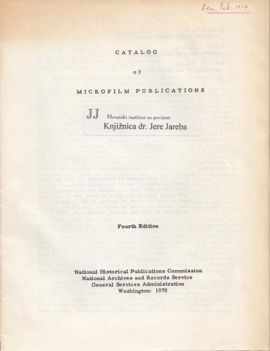 Catalog of microfilm publications.