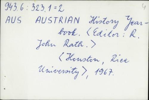 Austrian History Yearbook / urednik R. John Rath