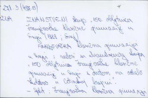 Franjevačka klasična gimnazija u Sinju : radovi sa Znanstvenog skupa