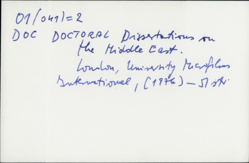 Doctoral Dissertations on the Middle East /