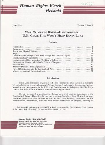 War Crimes in Bosnia-Hercegovina : U.N. Cease-Fire Won't Help Banja Luka / napisali Ivan Lupis, Vlatka Mihelić i Ivana Nizich.