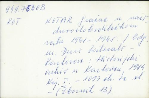 Kotar Gračac u narodnooslobodilačkom ratu 1941-1945. /