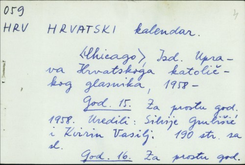 Hrvatski kalendar /
